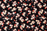 Japanese fabric ume blossom cotton crepe - black, cream, pink, red