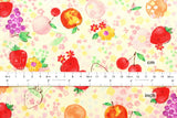 Kokka aquarelle fruit - orange, red, metallic