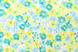 Kokka aquarelle floral parfait - green, blue, metallic silver - fat quarter