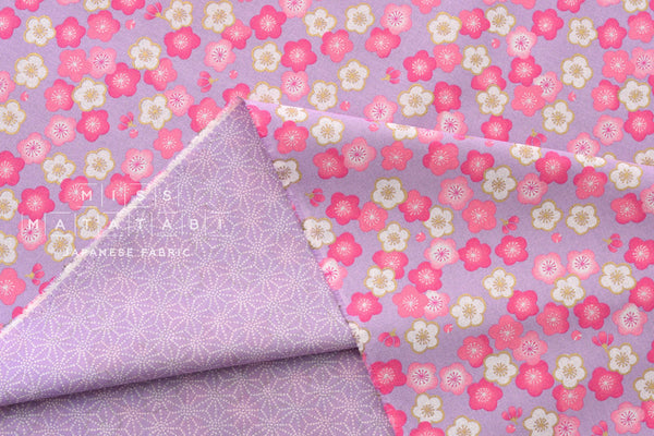 Japanese Fabric reversible ume and asa flowers - lilac, pink
