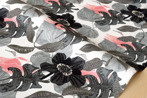 Paradise canvas - grey, pink - fat quarter