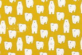 Shy Polar Bear - mustard yellow - fat quarter