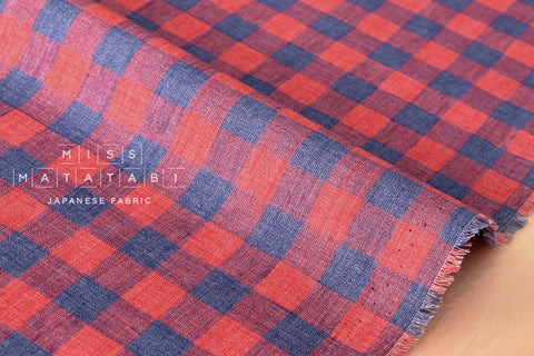 100% linen plaid check - blue, red