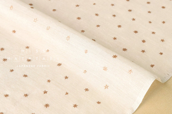 Silk blend metallic stars - natural, gold