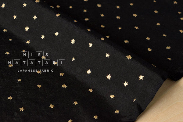 Silk blend metallic stars - black, gold