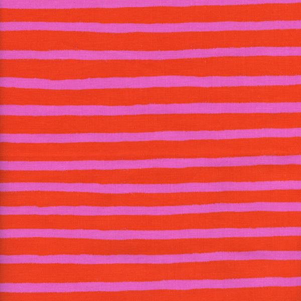Cotton + Steel Wonderland - cheshire stripe - orange, pink - fat quarter