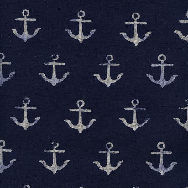 Cotton + Steel S.S. Bluebird - anchor canvas - navy - fat quarter