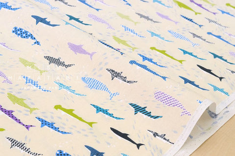 Sharks - blue, green, purple, cream - fat quarter