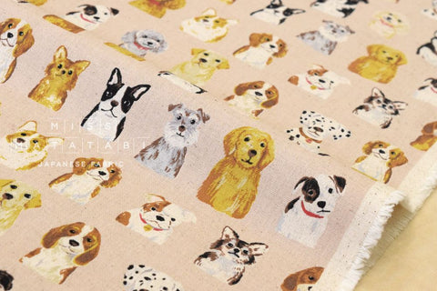 Kokka Animal World - dogs - pale pink - fat quarter