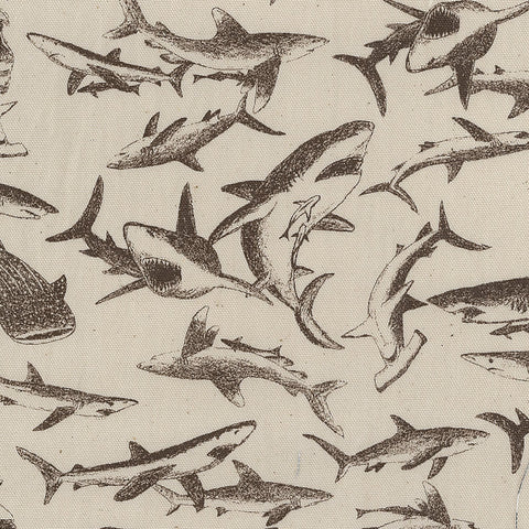 Kokka Trefle Sharks - brown - fat quarter