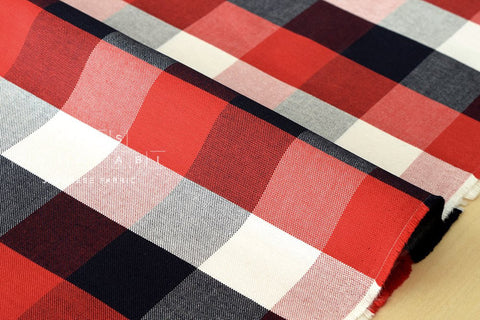Yarn-dyed plaid check - red, black, white, grey - fat quarter