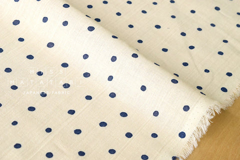 Cotton Voile - starry dots - navy blue, cream