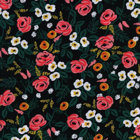 Cotton + Steel Wonderland rayon - painted roses - black, green