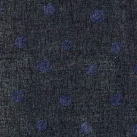 Nani Iro Kokka Japanese Fabric candy POCHO - charcoal black, indigo blue