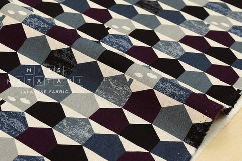 Houses canvas - black, grey, eggplant - fat quarter