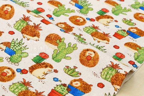 Hedgehog cactus canvas - fat quarter