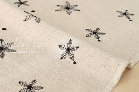 Embroidered Flowers canvas - black, natural