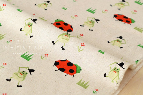 Ladybug and Frogs - natural - fat quarter