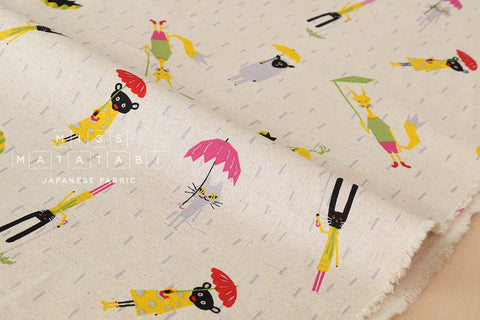Animals in the Rain - natural - fat quarter