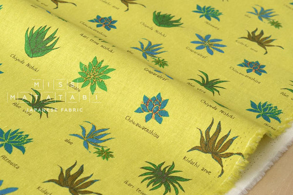 Aloe Vera Plants - yellow green - fat quarter