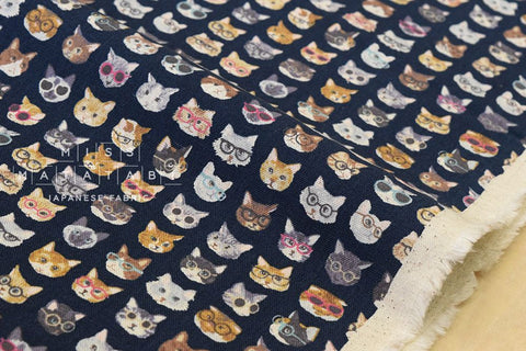 Kokka Animal World - cats - navy blue