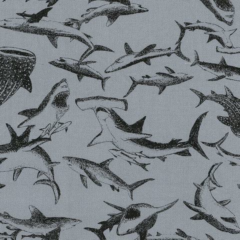 Kokka Trefle Sharks - grey blue - fat quarter