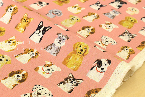 Kokka Animal World - dogs - salmon pink - fat quarter
