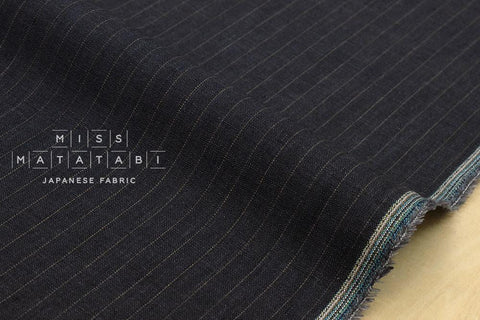 100% linen yarn dyed pinstripes - dark blue