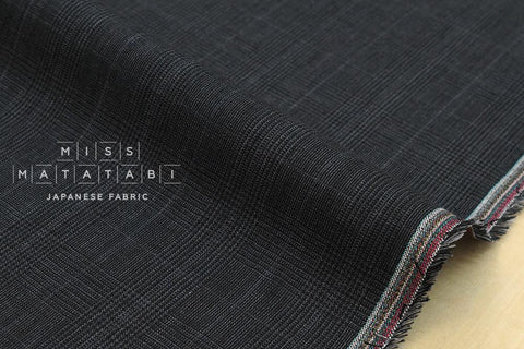 100% linen yarn dyed plaid - charcoal grey