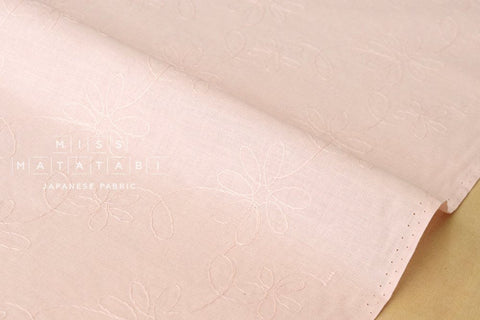 Embroidered cotton flowers - pale pink