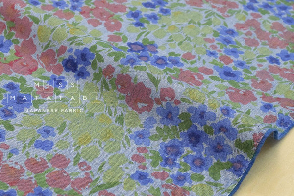 Chambray meadow - blue, green