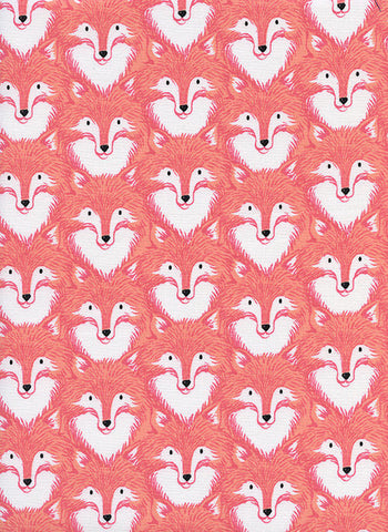 Cotton + Steel Magic Forest - foxes coral - fat quarter