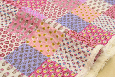 Cotton Seersucker Vintage Patchwork - pink
