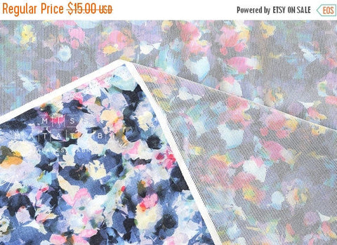 Digital floral print - flocked lawn