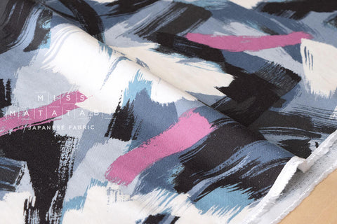 Brushed rayon twill brushstrokes - grey, pink, blue, black