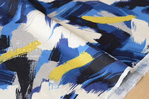 Brushed rayon twill brushstrokes - blue, mustard, grey, black