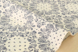 100% linen paisley - navy blue, cream