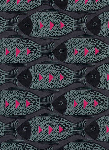 Cotton + Steel Magic Forest - fish charcoal - fat quarter