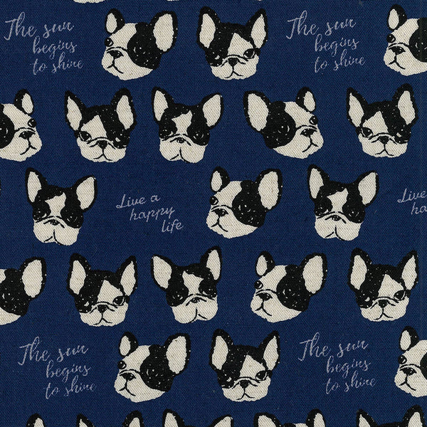 Kokka Boston Terriers - navy blue - fat quarter