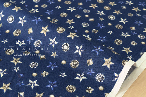 Metal studs - blue - fat quarter
