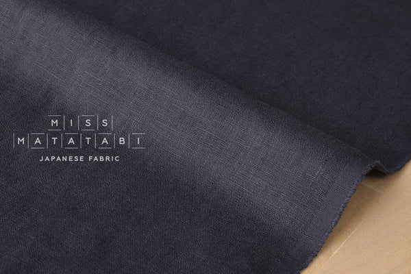 100% brushed linen - moody blue