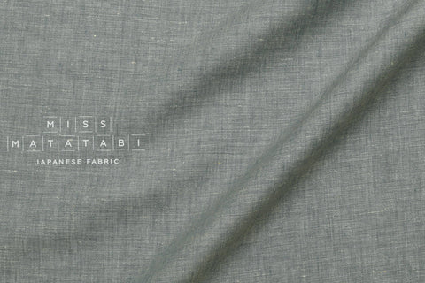 100% linen chambray yarn dyed - grey blue