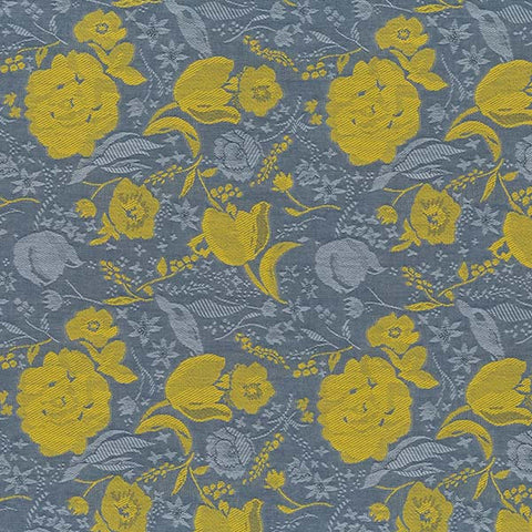 Nani Iro Kokka Japanese Fabric Fuccra Jacquard - yellow, grey