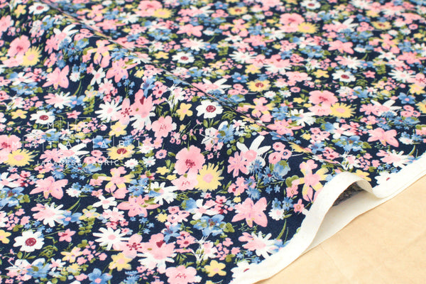 Japanese Fabric Spring Flowers - navy blue, pink, yellow - 50cm