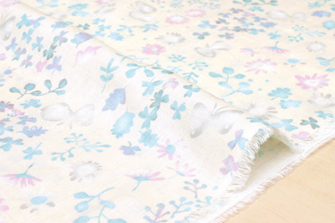 Japanese Fabric 100% linen Butterfly Meadow - cream, pastel - 50cm