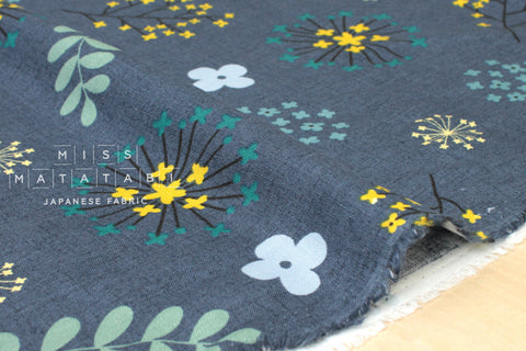 Japanese Fabric 100% linen Wildflower Burst - dark denim blue - 50cm