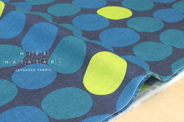 Japanese Fabric 100% linen Nordic Dots - dark blue - 50cm