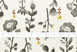 Japanese Fabric 100% linen Watercolour Flora - charcoal - 50cm