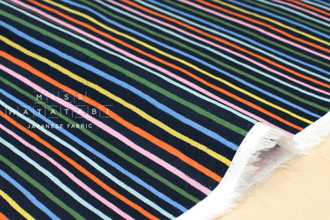 Cotton + Steel Amalfi lawn - happy stripes navy - 50cm