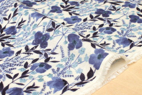 Japanese Fabric Watercolour Floral double gauze - blue - 50cm